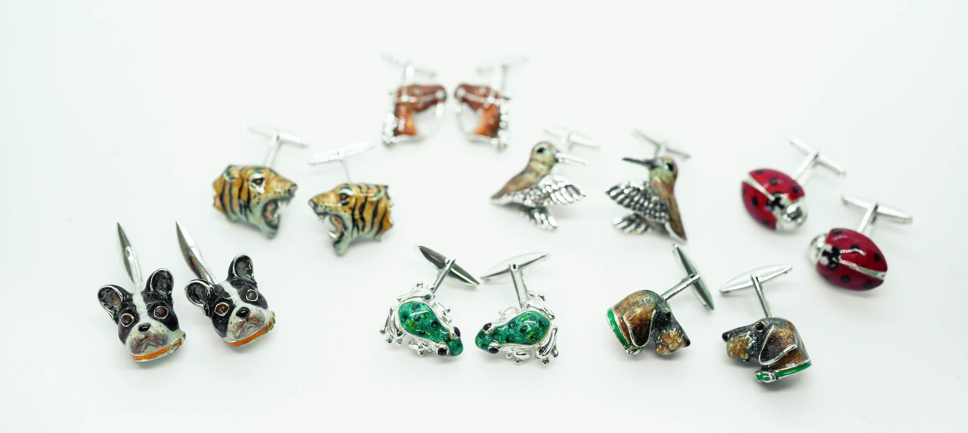 Enamelled cufflinks